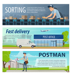 post mail delivery banners vector image