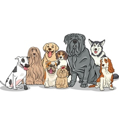Purebred dogs group cartoon vector