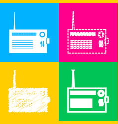 radio sign four styles of icon on vector image