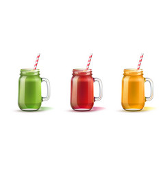 realistic smoothie in mason jar glass set vector image