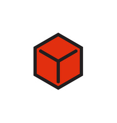 red box icon design template isolated vector image