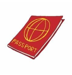 Red passport icon cartoon style vector image