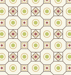 Retro Flower Circle and Square Pattern vector image