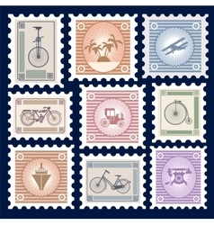 Retro postage stamps vector image vector image