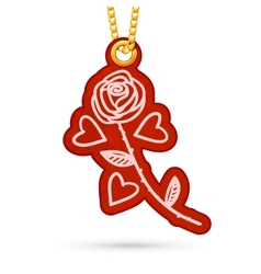 Rose and hearts label tag hanging on golden chain vector