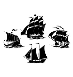 Sailboats and sailing ships silhouettes vector