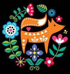 scandinavian folk art round pattern vector image