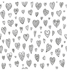 Seamless doodle pattern with different hearts vector