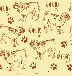 Seamless pattern with pug vector