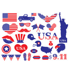 set elements for usa patriots day collection vector image