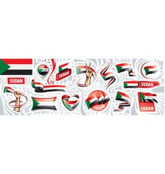 Set national flag sudan in vector