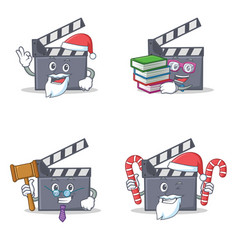 Set of movie clapper character with santa candy vector