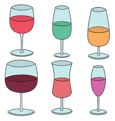 set of wine glass vector image