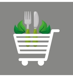 Shopping cart food natural design vector