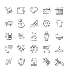 Shopping doodle icons vector