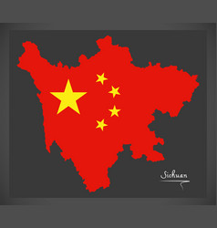Sichuan china map with chinese national flag vector