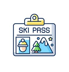 Ski pass rgb color icon vector