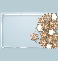 snowflake star cookies shapes background vector image