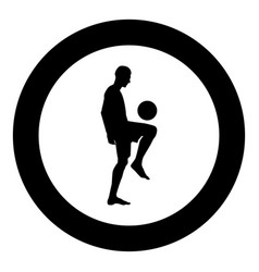 Soccer player juggling ball with his knee or vector