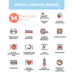 Special hospital rooms - modern simple thin line vector