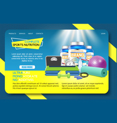 sports nutrition landing page website vector image