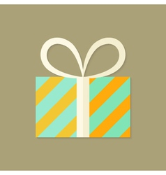 Striped Christmas Present Box Flat Icon vector