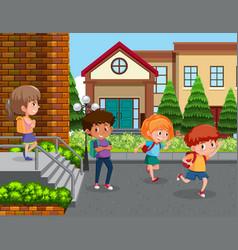 Students at school yard vector