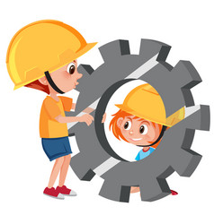 students with engineer gear vector image
