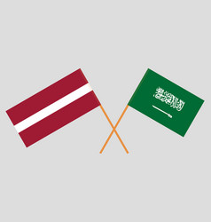 The ksa and latvian flags vector