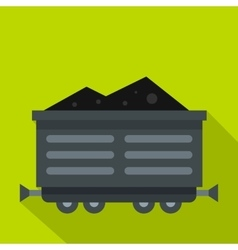 Train waggon with coal icon flat style vector