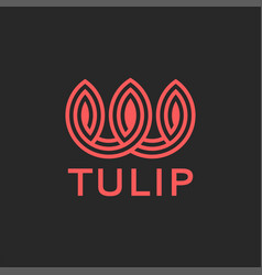 Tulip logo abstract flower monogram style coral vector