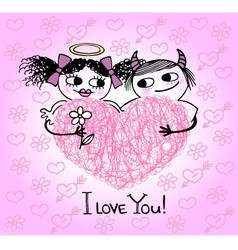Valentines card with hearts and couple in love vector image