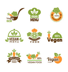 Vegan logo healthy food vegetarian ecology emblem vector