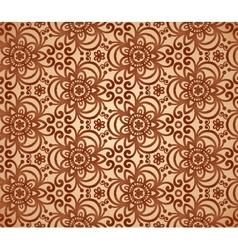 Vintage beige abstract ornate flowers pattern vector