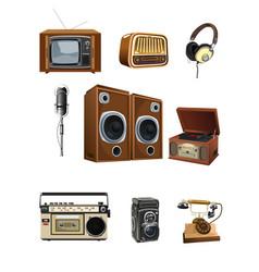 Vintage media stuff icons vector