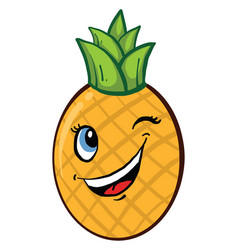 Winking pineapple on white background vector
