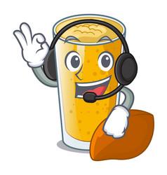With headphone lassi mango in the character fridge vector
