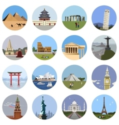 World landmarks flat icon set vector