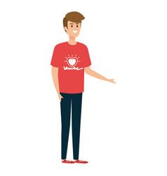 Young man volunteer character vector