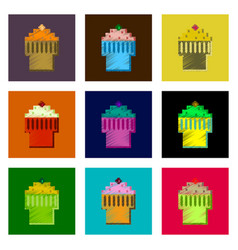 assembly of flat shading style pixel icon fruit vector image vector image