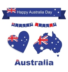 Australia flag banner and heart icon patterns set vector image vector image