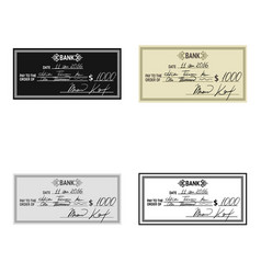 cheque icon in cartoon style isolated on white vector image vector image
