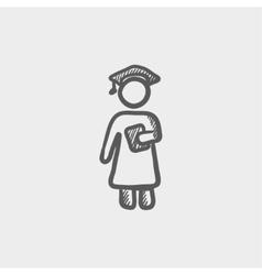 Graduation sketch icon vector image