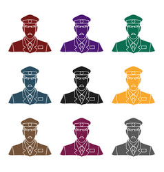 museum security guard icon in black style isolated vector image vector image
