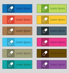 pill icon sign Set of twelve rectangular colorful vector image vector image