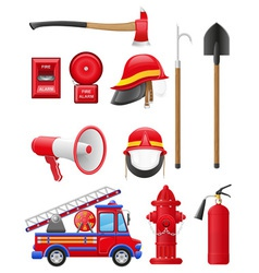 set icons of firefighting equipment vector image