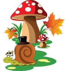 Snail mushroom cartoon vector image vector image