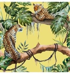 Watercolor leopard pattern vector image