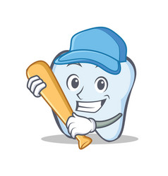 baseball tooth character cartoon style vector image