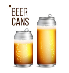 beer cans 500 and 330 ml can blank beer vector image vector image